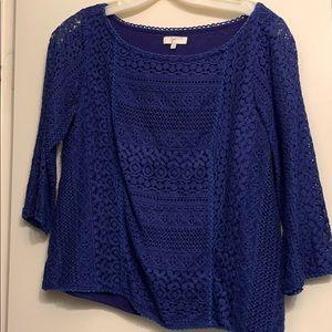 Joie Top Tulia Blue Crochet Lace